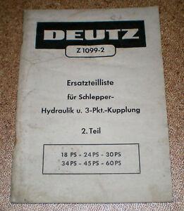 Ersatzteilliste-Deutz-Schlepper-Z1099-2-Hydraulik-und-3-Punkt-Kupplung
