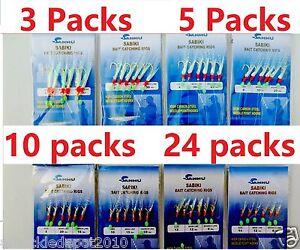 8,10,12 /& 14 Sabiki Bait Rigs 6 RED Hooks Saltwater Fishing Lure SIZE: 2 6 4
