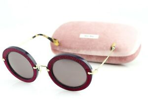 681710082 NEW Genuine MIU MIU Red Suede Havana Gold Round Sunglasses MU 08RS ...