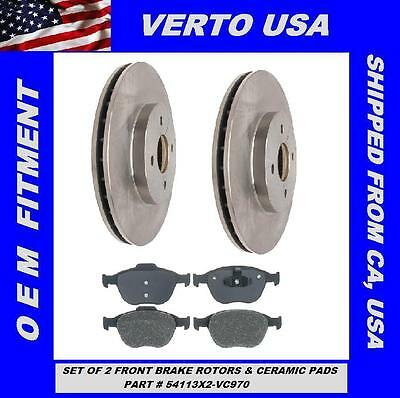 Fit Ford Focus SVT Verto USA Set Of 2 Rear Brake Rotors /& Ceramic Pads