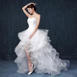 Front Shorter Princess Bride S Wedding Dresses W Small Trains Bridal