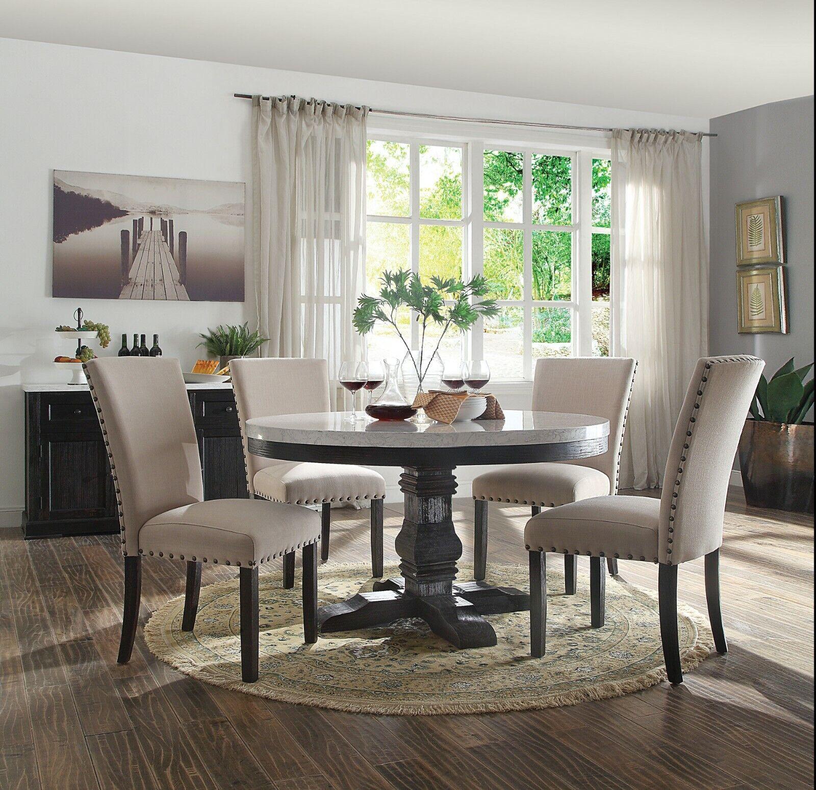 Acme Furniture Nolan Round Pedestal 5 Piece Marble Dining Room Set For Sale Online Ebay