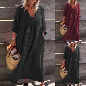 UK-Women-Ladies-Long-Sleeve-V-Neck-Casual-Loose-Summer-Beach-Maxi-Dress-Kaftan