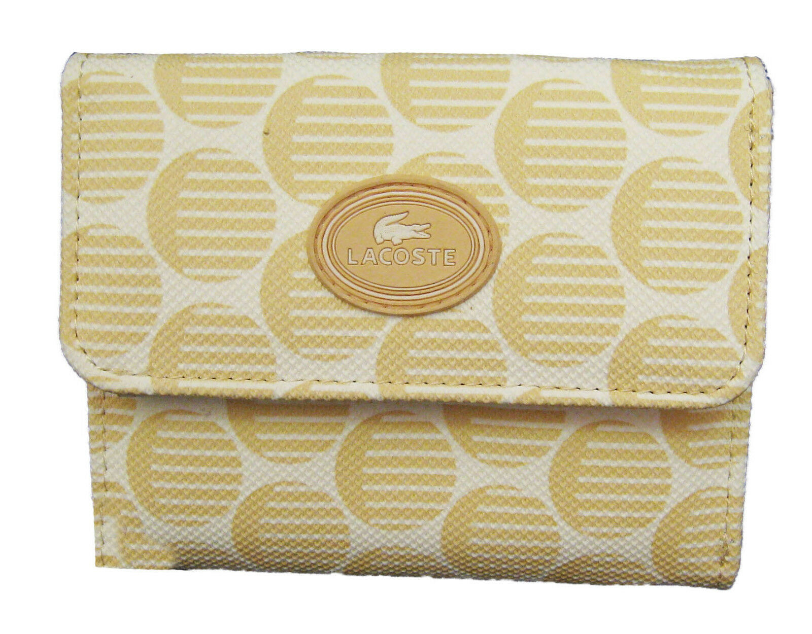 New Authentic Vintage LACOSTE Womens Girls PURSE WALLET Pop Chic 1 Sand