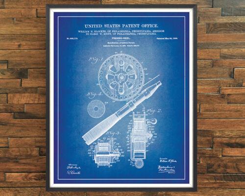 Fishing Reel 1906 Patent Print Angling Decor Vintage Poster Wall Art Gift