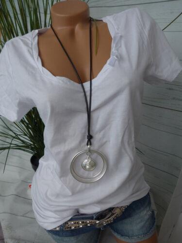NEU 34 bis 4 Weiß Ton Schleife am Ausschnitt Cheer Damen Shirt Tunika Gr 621