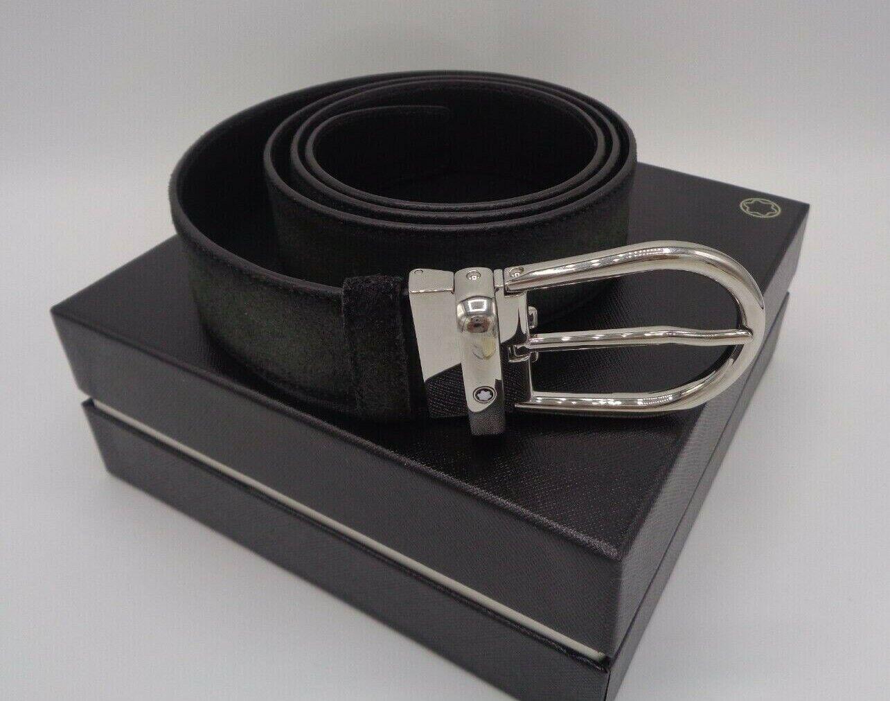 Mont Blanc Herren Gürtel grau/schwarz Länge 110, Breite 35mm,Schnalle silber OVP