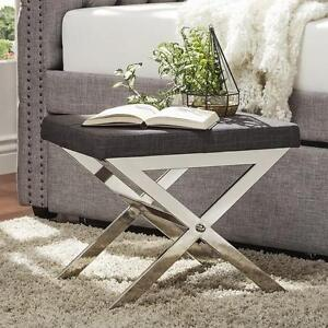 Incredible Details About Chrome And Dark Gray Linen Vanity Stool Seat Extra Seating X Base Modern New Dailytribune Chair Design For Home Dailytribuneorg