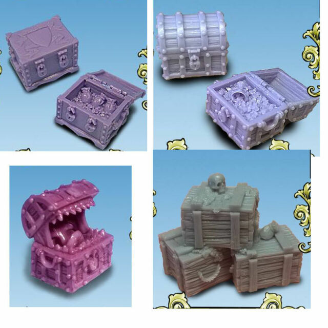 Chest and Crates for 28mm figures / Cajas y Cofres para escenografia / heroquest