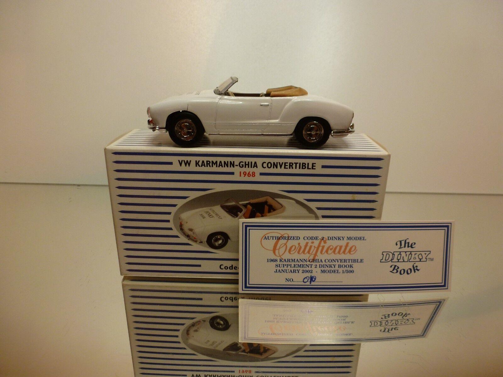 DINKY TOYS 00-5 VW VOLKSWAGEN KARMANN GHIA - WHITE 1 43 RARE - VERY GOOD IN BOX