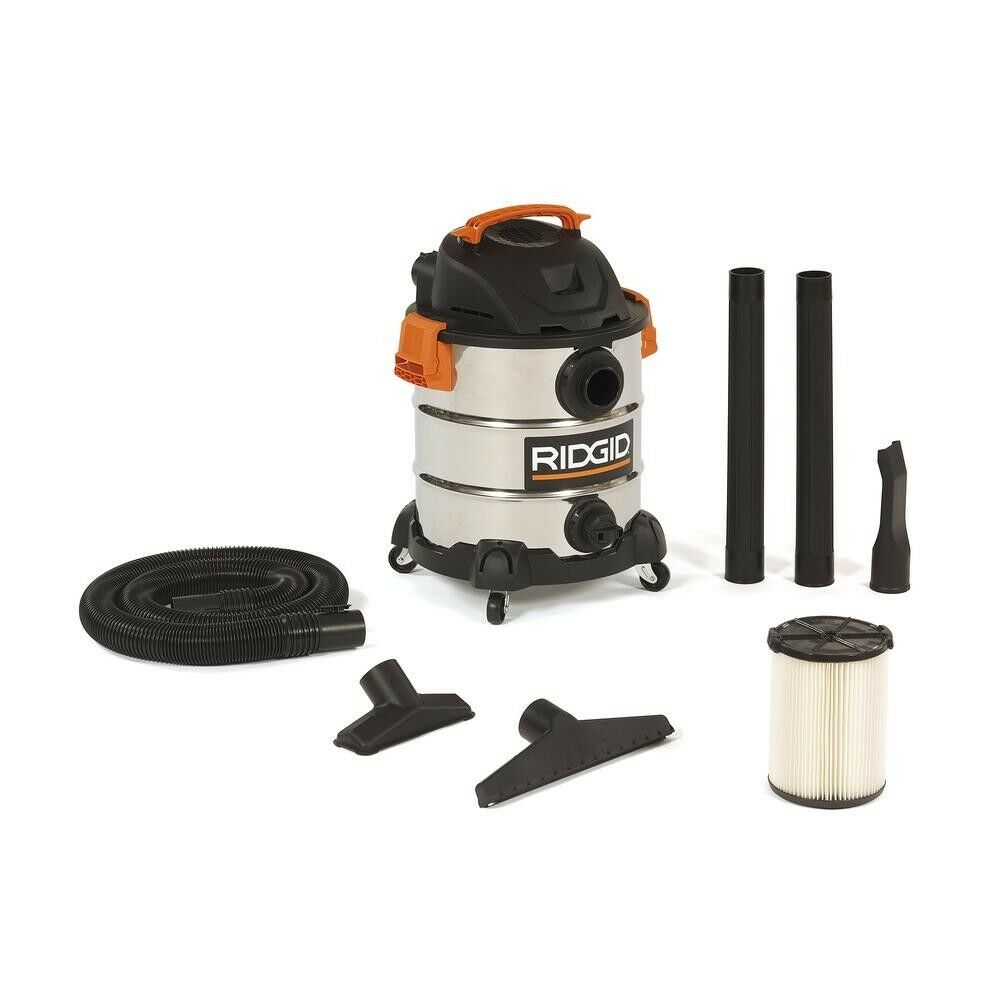 RIDGID 10 Gal. 6.0 Peak HP Stainless Wet Dry Vacuum Durable Stainless Steel