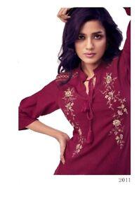 Women-Fashion-Indian-Short-Embroidered-Maroon-Kurti-Tunic-Kurta-Top-Shirt-Dress