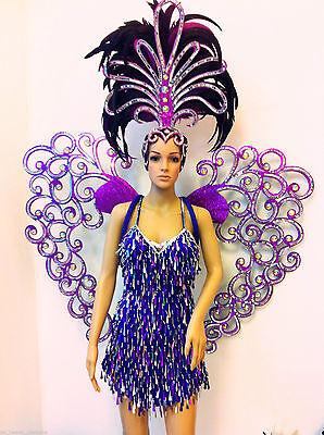 Da NeeNa C043 Vegas Showgirl Burlesque Cabaret Angel Wings Heart Costume Set