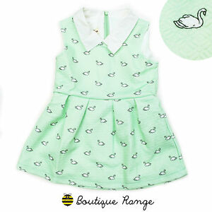 Girls-Textured-Fabric-Elegant-Beautiful-Quality-Dress-Swan-Pattern-Print-2-7Y