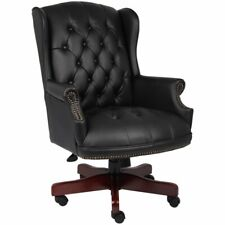 Boss Office Traditional High Back Faux Leather Tufted Executive Chair In Black