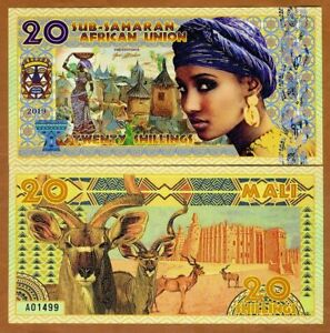Sub-Saharan-African-Union-20-Shillings-2019-Private-Issue-Polymer-gt-Woman