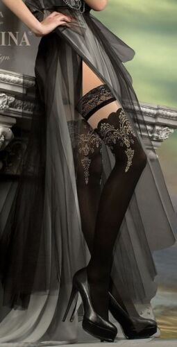 Stunning Black /& Gold Thigh High by Lurex Studio Collants Hosiery 220