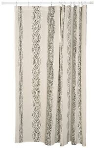 Details About Danica Studio 100% Cotton Shower Curtain Entwine Weave  Braided Rope Black White