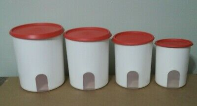 TUPPERWARE ONE TOUCH REMINDER CANISTERS SET OF 4-IN