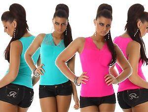 Camicetta-Pizzo-Top-Maglia-Body-Elasticizzato-Maglietta-Camicia-Neon-Blusa