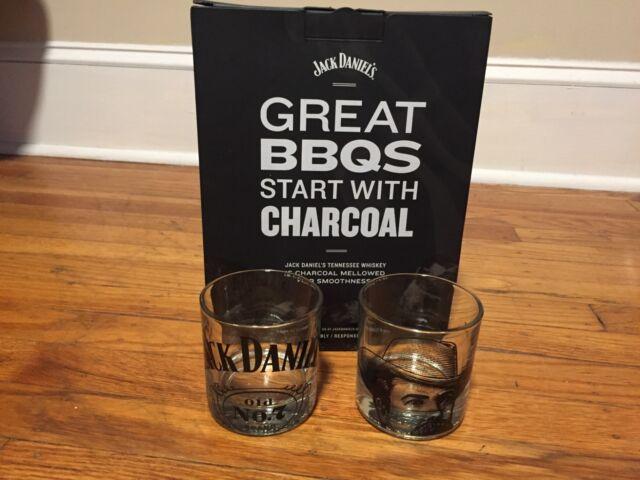 Vintage Square Bottom 8 Oz Jack Daniels Whiskey Rock Shot Glass Set of 2