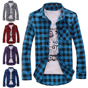 MEN-039-S-LONG-SLEEVE-CASUAL-CHECK-PRINT-SMART-COTTON-WORK-FLANNEL-PLAID-SHIRT-TOP