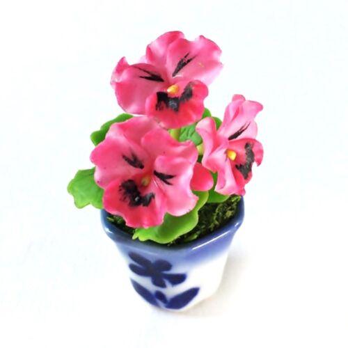 Pink Pansy Clay Flower Ceramic Pot Dollhouse Miniature Tiny Handmade