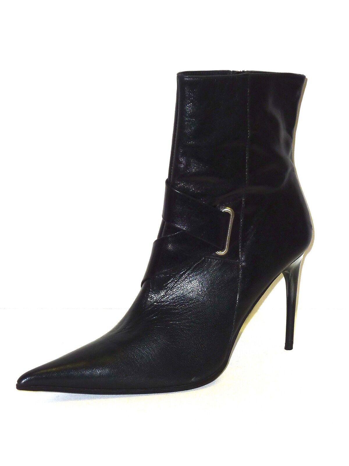 Zapatos especiales con descuento BOTAS DE MUJER ZAPATOS BOTINES BAJOS DE CUERO NEGRO BOTINES TACÓN ALTO 39