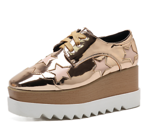 Ladies-Square-Toe-Oxford-High-Wedge-Platform-Lace-Up-Creepers-Leather-Shoes-Size