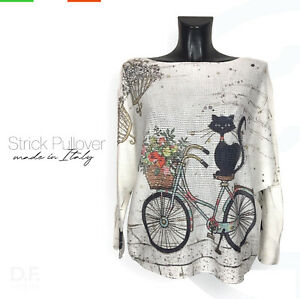 Strick-Pullover-Made-in-Italy-039-Black-cat-039-Print-Muster-Langarm-Pulli-Gr-38-46