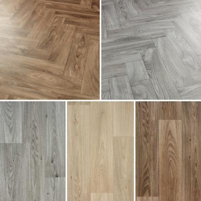 4mm Wood Effect Parquet Plank Cushioned, Vinyl Laminate Flooring Rolls