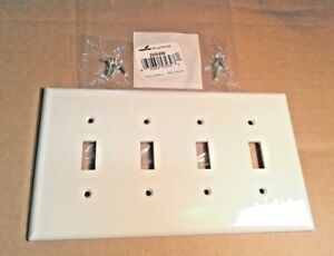 Qty 10 White 2054w Box Cooper 4 Gang Wallplates Light Switch Covers