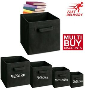 Black Foldable Storage Collapsible Folding Box Home Clothes Organizer Fabric Cub