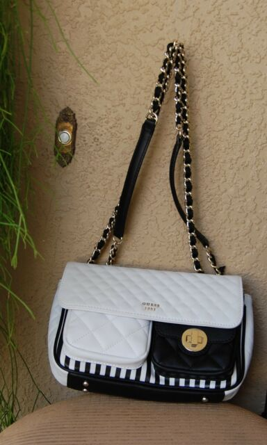 NWT GUESS Wilson (Resort) Covertible Crossbody Flap, Black Stripe Authentic