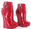 New Womens Platform Ankle Ballet Boots Wedge Heel Buckle Patent Leather Shoes