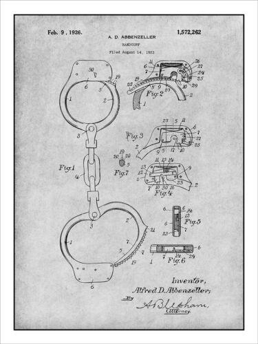 1923 Handcuff Patent Print Art Drawing Poster 18X24