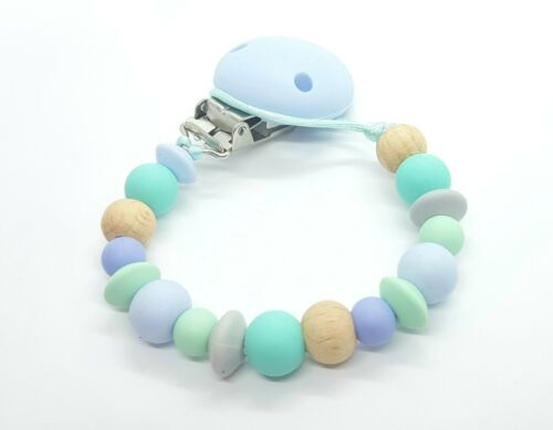 Silicone dummy pacifier teething beadclip gift Duck egg MORE COLOURS AVAILABLE