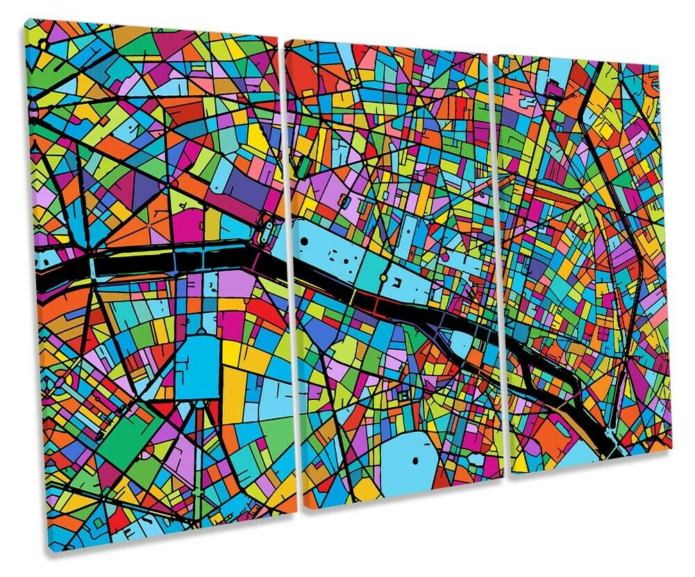 Paris City Modern Map Picture TREBLE CANVAS WALL ART Print Multi-Colourot