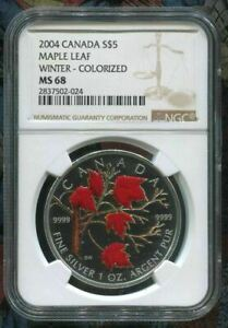 2004-CANADA-5-MAPLE-LEAF-WINTER-NGC-MS68-w-ALL-PACKAGING-SILVER