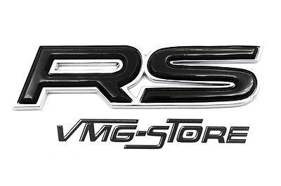 3D RS Emblem Badge Chrome/Schwarz NEU mit Kleberückseite Audi Ford Skoda Tuning