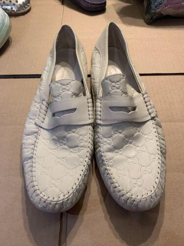 Gucci Men's WHITE Guccissima Leather Loafer Moccas