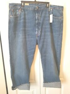 fc05515c410 Levi's 501 Button Fly Pleated Crop Men's Jeans NWT Size 44 Blues Raw ...