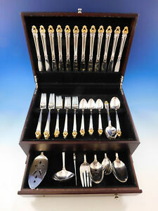 Golden-Crown-by-Reed-amp-Barton-Silverplate-Flatware-Set-for-12-Service-68-pcs