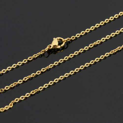 """18/""""-36/"""" Wholesale Bulk Hot Sell Stainless Steel Gold Plated Oval Necklace 2-3mm"""