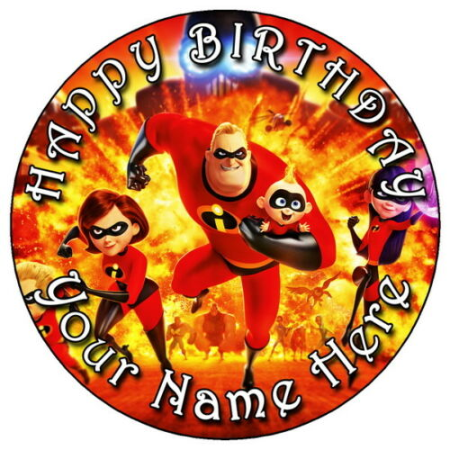 """THE INCREDIBLES 2 PARTY 5 7.5/"""" PERSONALISED ROUND EDIBLE ICING CAKE TOPPER"""