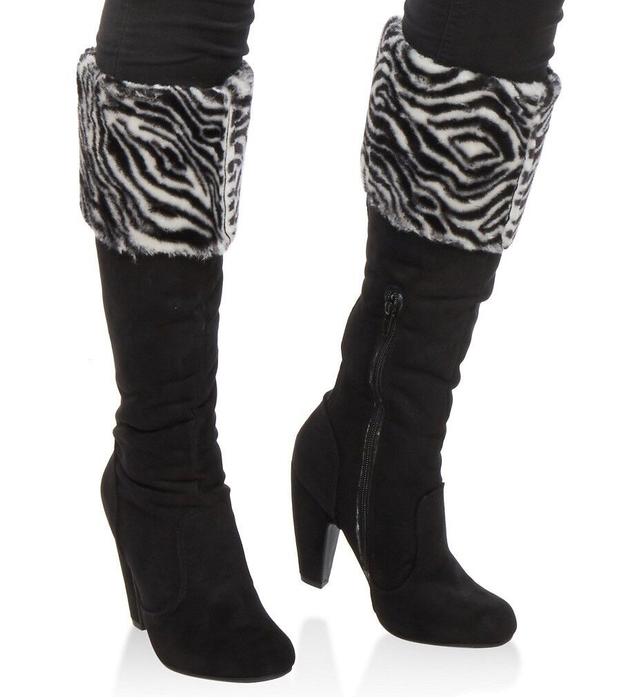 New Women's Faux Fur Cuffed High Heel Black Boots Size 8 Zebra Print Fold