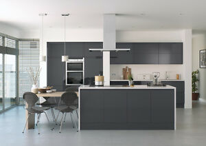 Anthracite Dark Grey Handless Lucente High Gloss Replacement - Dark grey gloss kitchen