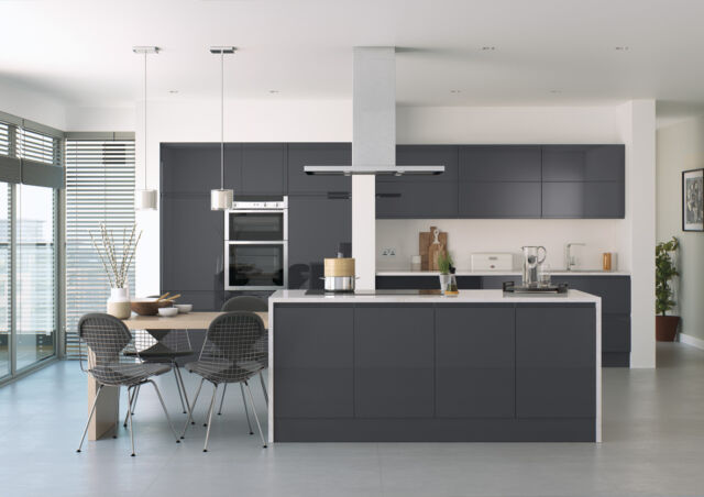 Anthracite Dark Grey Handless Lucente High Gloss Replacement Kitchen Doors