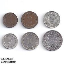 Set großer Adler 1, 2, 5, 10 Pfennig 1/2 Mark 1 Mark 1890 - 1916 - Kaiserreich