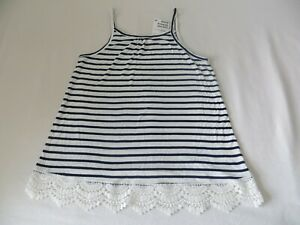 BNWT-Girls-H-amp-M-Navy-Blue-amp-Ivory-Striped-Sleeveless-Lace-Detail-Top-Age-10-12-yr